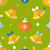 Flat seamless pattern with bells and decorations Stock Photo