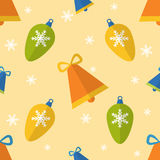 Flat seamless pattern with bells and decorations Stock Image