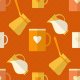 Flat seamless pattern with coffee items Royalty Free Stock Photo
