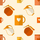 Flat seamless pattern with coffee items Royalty Free Stock Images