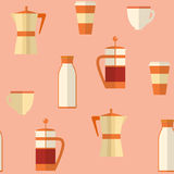 Flat seamless pattern with coffee items Royalty Free Stock Photography