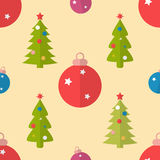 Flat seamless pattern with fir trees and baubles Stock Photo