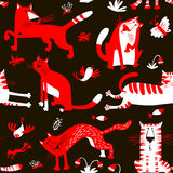 Flat seamless pattern with funny cats. Vector background in chil Royalty Free Stock Images