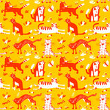 Flat seamless pattern with funny cats. Vector background in chil Royalty Free Stock Photo