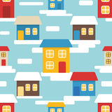 Flat seamless pattern with houses Stock Photos