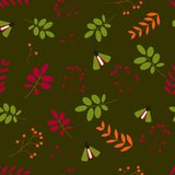 Flat . Seamless pattern: leaves, berries, insects, us green background vector illustration