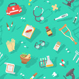 Flat seamless pattern with medicine icons Stock Photos