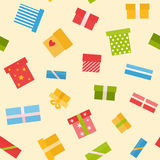 Flat seamless pattern with presents. Seamless pattern with gift boxes in flat style Stock Photography