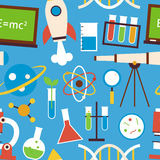 Flat Seamless Pattern Science and Education Objects over Blue Royalty Free Stock Images