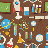 Flat Seamless Pattern Science and Education Objects over Brown Stock Photography