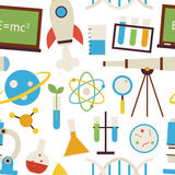Flat Seamless Pattern Science and Education Objects over White Stock Image