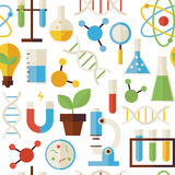 Flat Seamless Pattern Science and Research Objects over White Stock Photo