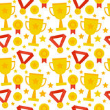 Flat Seamless Pattern Sport Competition Trophy Winning. Seamless Pattern Sport Competition Trophy Winning. Flat Style Tile Texture Background. Sports and Stock Image