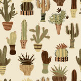 Flat seamless pattern with succulent plants and cactuses in pots. Royalty Free Stock Photo