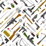 Flat seamless pattern weapons vector format. Army graphic gun war symbols illustration. sniper, rifle, crime, machine background. Military automatic shotgun Stock Photography