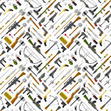 Flat seamless pattern weapons vector format. Army graphic gun war symbols illustration. sniper, rifle, crime, machine background. Military automatic shotgun Royalty Free Stock Photography