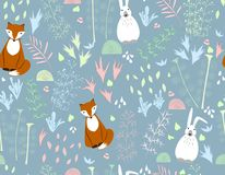 Flat seamless vector illustration with flowers and cartoon animals. The fox, rabbit, hare. Ornaments, ornaments, decorative. royalty free illustration