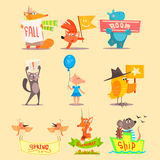 Flat Season Animal Icons. Vector Illustrations. Set Stock Image