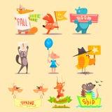 Flat Season Animal Icons. Vector Illustrations Stock Image