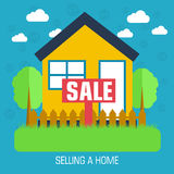 Flat selling a home background design concept. Stock Photos