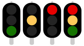 Flat semaphore, traffic light icons, symbols. Transportation, tr Stock Photos