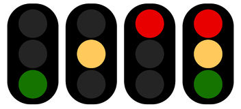 Flat semaphore, traffic light icons, symbols. Transportation, tr Stock Photography
