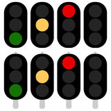 Flat semaphore, traffic light icons, symbols. Transportation, tr Royalty Free Stock Photos