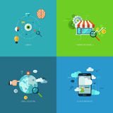 Flat seo business vector mobile concept design Royalty Free Stock Photography