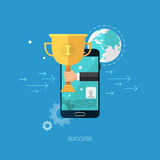 Flat seo business vector mobile concept design. Vector seo flat and colorful business and finance concept with mobile phone, hand, earth and cup. Design elements Stock Illustration