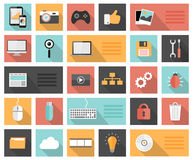 Flat 25 seo, development, social media and computer icons. With long shadows Stock Photo