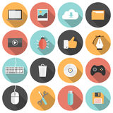 Flat seo, development, social media and computer icons Stock Photography