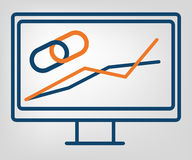Flat SEO icon, isolated  object, laconic blue and orange lines on gray background.  Royalty Free Stock Photos