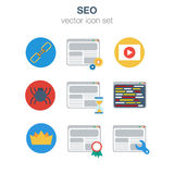 Flat SEO optimization icon set Royalty Free Stock Photos