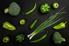 Flat series of assorted green toned vegetables. Food concept. top view and copy space stock photography