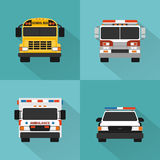 Flat service cars set. Police, ambulance, fire truck, school bus. Flat concept service cars set. Police, ambulance, fire truck, school bus Stock Photography