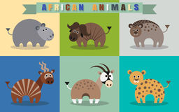 Flat set of african animals. Stock Photos