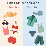 Flat set of beach accessories. For men and women Royalty Free Illustration
