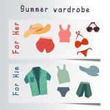 Flat set of beach accessories. For men and women Vector Illustration