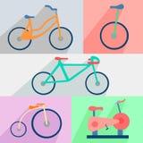 Flat set bicycles, exercise bike, circus, city Royalty Free Stock Photo