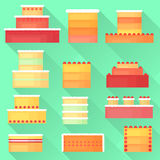 Flat set of cakes of different types with a long shadow. Bakery products. Bright  illustration for your design Royalty Free Stock Photo