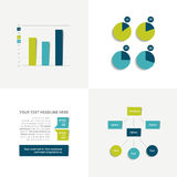 Flat set of charts and brochure elements. Simply color editable. Stock Photos