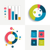 Flat set of charts and brochure elements. Simply color editable. Royalty Free Stock Photography