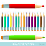 Flat set of color pencils  red greenviolet yellow blue black brown orange grey Stock Photo