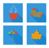 Flat set  with cup, socks, leaf, umbrella Stock Photography