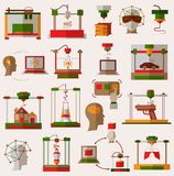 Flat icons set of 3D printing, 3D modeling. Flat set of 3D printing, 3D modeling and scanning technology Stock Images