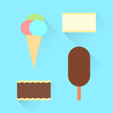 Flat set of different kinds of ice cream Stock Images