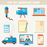 Flat set of equipment for journalism background Royalty Free Stock Photography