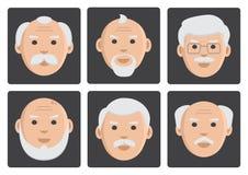 Flat set of face old men on gray background, avatar, vector vector illustration