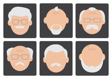 Flat set of face old men. Vector illustration stock illustration