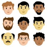 Flat set faces of men, avatar, vector vector illustration